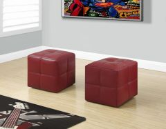 MBTC Monarch Ottoman Pouffe Cubic Stool in Blood Red (Set of 2 Pcs)
