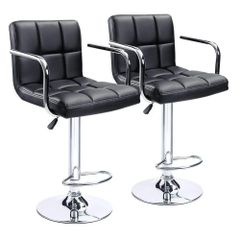 MBTC Cadbury Handrest Kitchen Cafeteria Bar Stool Chair in Black (Set of 2)