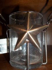 Tea light/candle holder copper w/star