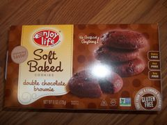 Enjoy Life double chocolate brownie soft baked cookies gluten free, dairy free, nut free, soy free NON GMO