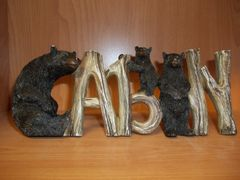 "3.5"" x 9"" Cabin sign w/bears"