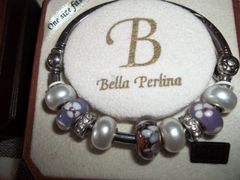 Bella Perlina Bracelet purple w/flowers