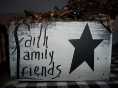 wooden Box Candle holder faith, family, friends
