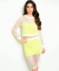 Neon Green & White Mesh Top & Skirt Set