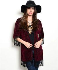 Boho Velvet Fringe Kimono