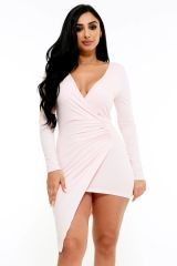 Blush Bey Mini Wrap Dress