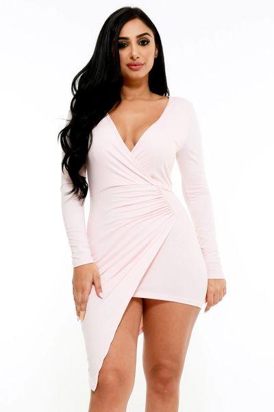 Blush Bey Mini Wrap Dress