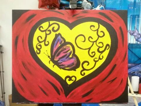 painting canvas 16 by 20 there is a butterfly in my heart