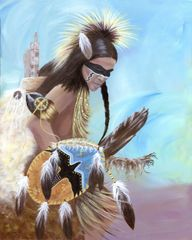 Pow Wow Presence, Signed and Matted Art Prints or as Greeting Card
