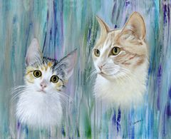 Custom Cat Portrait for Charity hand painted from your photo. Proceeds supports animal rescue.