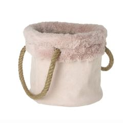 Dusky Pink Fabric Bag with Fur Trim