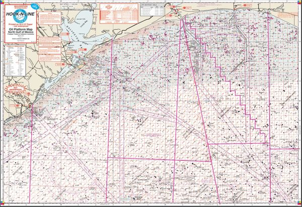 Oil Rigs In Gulf Of Mexico Map.F142 Gulf Of Mexico Oil Platform Hard Copy Fishing Map With Gps