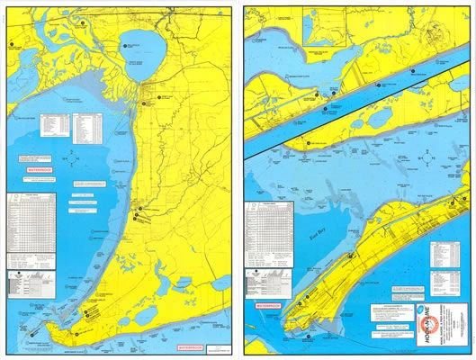 Hook And Line Maps F104 Wade Fishing Map of East Galveston Bay Area | Hook N line