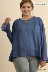 Ruffle sleeved top with keyhole button and hi low hem