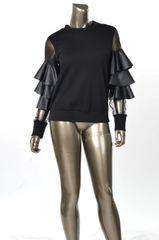 Ruffled Sleeve Top - Black