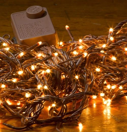 Brown Cord Teeny Clear String Lights