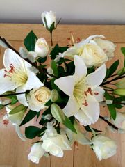 IVORY LILY , ROSE & PUSSY WILLOW ARTIFICIAL SILK FLOWER BOUQUET, GIFT WRAPPED