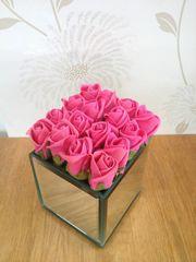 CERISE PINK SWEETHEART FOAM ROSE CLUSTER MIRROR CUBE
