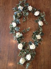6FT IVORY ROSE VARIEGATED IVY GARLAND DECORATION