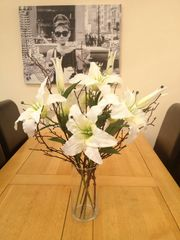 LARGE IVORY LILY & TWIG ARRANGEMENT IN GLASS CYLINDER VASE WITH WATER