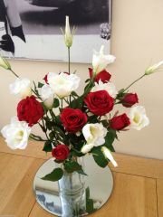 RED ROSE & IVORY LISIANTHUS HAND TIED BOUQUET ARRANGEMENT, GIFT WRAPPED