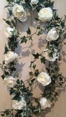 DELUXE 6FT IVORY LARGE PEONY ROSE VARIEGATED IVY GARLAND