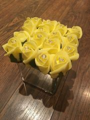 BEAUTIFUL YELLOW ROSE BUD & CRYSTALS MIRROR CUBE ARRANGEMENT