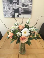 VINTAGE PEACH ROSE & GERBERA VASE ARRANGEMENT IN WATER