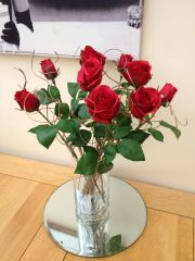 STUNING RED ROSES & TWIGS IN GLASS CYLINDER VASE WITH WATER