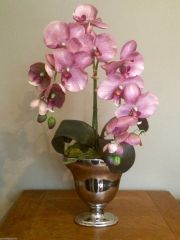 VINTAGE PURPLE TWIN STEM ORCHID ARRANGEMENT IN SILVER FOOTED VASE
