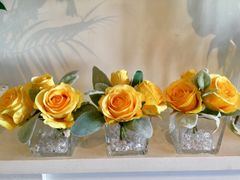 SET OF 3 YELLOW ROSE & FOLIAGE GLASS CUBE ARRANGEMENTS WITH FAUX WATER