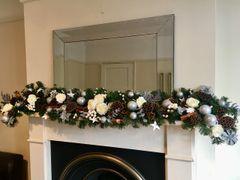 LUXURY ARTIFICIAL SILK ROSE WHITE & SILVER 7 FT HANDMADE CHRISTMAS GARLAND