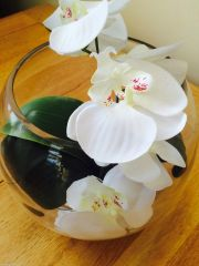 "BEAUTIFUL IVORY ORCHID & LEAVES IN 10 "" GLASS FISH BOWL WITH WATER"