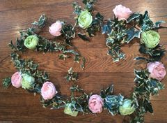 DELUXE 6FT PINK & SAGE GREEN PEONY ROSE VARIEGATED IVY GARLAND