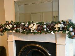 LUXURY MODERN SILK HYDRANGEA 6 FT HANDMADE WHITE & SILVER CHRISTMAS GARLAND