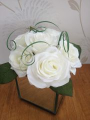 DELUXE SILK ICE WHITE ROSE & BEAR GRASS MIRROR CUBE ARRANGEMENT