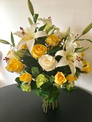 YELLOW & IVORY ROSE & LILY HAND TIED BOUQUET, GIFT WRAPPED