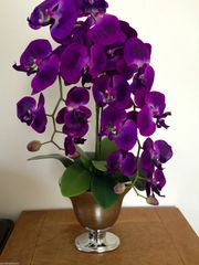 STUNNING ARTIFICIAL PURPLE TWIN STEM ORCHID ARRANGEMENT IN BEAUTIFUL SILVER FOOTED VASE
