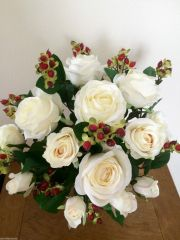 LARGE IVORY ROSE & HYPERICUM HAND TIED BOUQUET