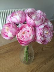 BEAUTIFUL SORBET PINK PEONY SPOTTED VASE ARRANGEMENT SET IN WATER
