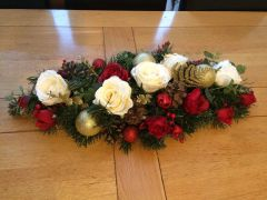 DELUXE HANDMADE EXTRA LARGE 2 FT RED IVORY GOLD SILK ROSE CHRISTMAS TABLE ARRANGEMENT