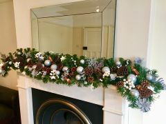 LUXURY HANDMADE SPARKLING WHITE & SILVER 6 FT CHRISTMAS GARLAND