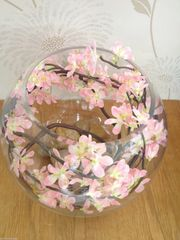 PINK BLOSSOM LARGE GLASS BOWL ARRANGEMENT SET IN WATER