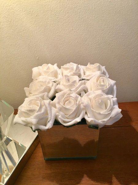 Beautiful Ivory Glittered Rose Arrangement In Mirror Cube