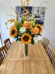 Majestic Handmade Vase Design - Sunflower, Rose, Allium, Snowball, Forsythia & Ranunculus