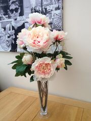 LARGE PINK PEONY & TWIGS ARTIFICIAL FLOWER VASE ARRANGEMENT IN WATER