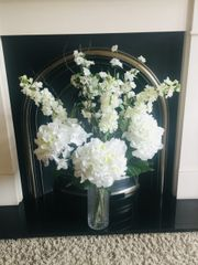 EXTRA LARGE HYDRANGEA BLOSSOM STOCKS & HAZEL ALL WHITE/IVORY VASE ARRANGEMENT