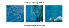 Zen Blue Scenes - 3 Painting Set