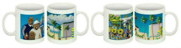 """Planet Bruin"" Wraparound Ceramic Mugs (Set of 4)"
