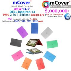 "mCover Hard Shell Case ONLY for 13.3"" Dell Inspiron 13 5000 ( 5368 / 5378 ) series 2-in-1 Laptop"